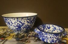 Enamelware Blue White Mixing and Handled Bowls (2) Prima Design New