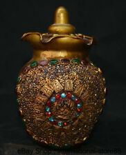 "6.4"" Collect Old Tibetan Seven Colours Gilt Jewel Buddhist relics Buddha Jar Jug"