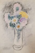 Vintage fauvist pastel painting still life with flowers