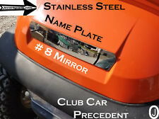 Club Car PRECEDENT golf cart Polished #8 mirrored Stainless Steel Name Cover
