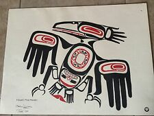 Native Pacific Northwest Signed Dixon Raven Totem Lithograph Painting