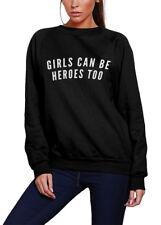 Girls can be Heroes Too - Superhero Comic Cape Girls Can Kids Sweatshirt