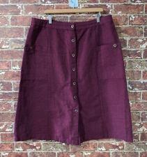 Gudrun Sjoden sz XL Burgundy Wine Red Button Front Skirt Pockets Linen Blend