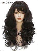 LMJF321 long natural wavy dark brown curly hair mid style health wigs women wig