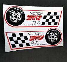 MOTION Supercar Club Decals x 2, BALDWIN CHEVROLET Vintage Style Vinyl STICKERS