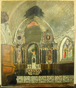 Oil Signed Edmond Bertreux (1911-1991) Church Saint Jean From Boiseau Country