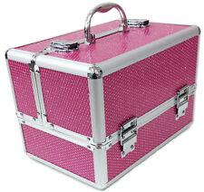 Large Pink Aluminium Beauty Sequins Cosmetic Box Nail Make Up Vanity Salon Case