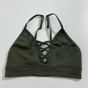 PINK Victoria's Secret Olive Green Sports Bra Size Small