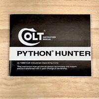 Colt Manufacturing Firearms Original Factory Manual For Colt Python Hunter 1980