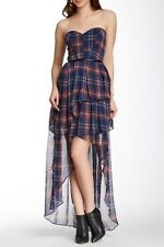 NWT TOV Plaid Sweetheart Neck Strapless Layered Hi-Lo Dress Red Sz 42 US 8