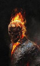 Enmarcado impresión esqueleto llameante (imagen cartel muerto gótico muerte Ghost Rider)