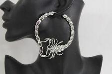 New Women Big Hoops Silver Metal Large Fashion Earrings Set Scorpion Hook Beads