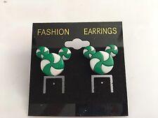Disney Christmas peppermint Mickey ears  earrings green
