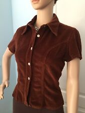 Brown Corduroy Contempo Casual Top Button Front Grunge w/ Modcloth Flair