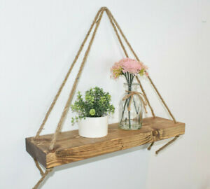 Handmade Chunky Wooden Hanging Rope Shelf Rustic Home Floating Wall Mounted