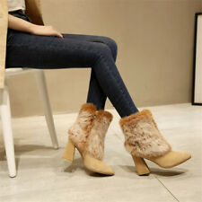 Womens Winter Warm Cow Suede Pointy Toe Fluff Short Ankle Boots Block Heel Shoes