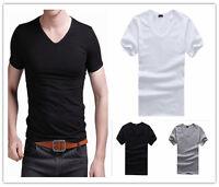 Men's V Neck Tops Tee Shirt Slim Fit Short Sleeve Solid Blank Casual T-Shirt Hot