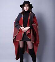 Women Scarf Winter Patchwork Plaid Poncho Cape Blanket Cloak Wrap Shawl Fashion