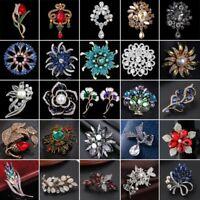 Retro Pearl Crystal Heart Flower Wedding Bouquet Brooch Enamel Pin Women Party