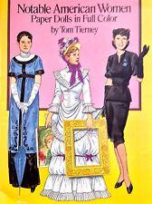 Notable américain femmes papier poupée Livre, 1989, non coupé 16 pgs, Tierney