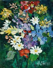ANDRE DLUHOS ORIGINAL OIL PAINTING Floral Still Life Garden Color Bloom Flowers