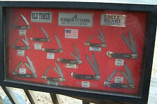 Schrade Cutlery Old Timer Uncle Henry store advertising display case & 11 knives