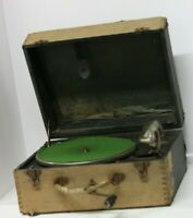 Vintage Antique Wooden Phonograph Boxed Wind up Crank Record Player Rare