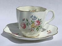 Antique Coalport Fine Bone China Tea Cup & Saucer Pink Floral on White 1891-1919
