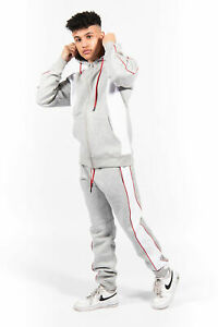 JYO Mens Grey and White Blocked Pull Through Tracksuit(TS2481)
