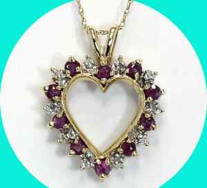 """.70CT diamond ruby halo heart pendant necklace YG birthstone 19"""" rope chain"""