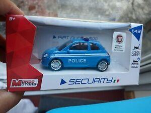 FIAT NUOVA 500 1/43 3.5in Italian POLICE Car SEALED BOXED