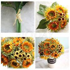1 Bunch Fake Sunflower Artificial Silk Flower Bouquet Home Floral Decor Yellow