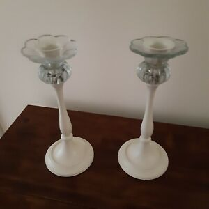 Laura Ashley Candle Candlestick Holder Pair Glass Cream shabby chic vintage deco