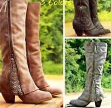 Ladies Vintage Knee High Boots Lace Faux Leather Shoes Fashion Large size 35-43
