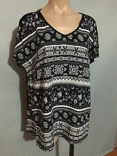 BNWT Womens Sz 14 Autograph Brand Paisley Flowers Black/White Tunic Top RRP $50