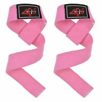 4Fit Power Hand Bar Straps Weight Lifting Cotton Webbing Dead Lift Straps Gym PK
