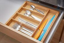 Andrew James Cutlery Tray Expanding Wooden Bamboo Drawer Organiser Storage