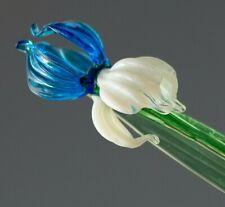Iris Blue, Figurine, Blown Glass Art Flower. Made in Russia