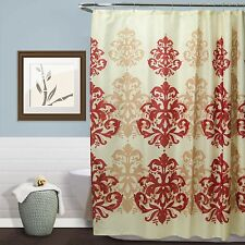 "CREAM FABRIC SHOWER CURTAIN, GEOMETRIC DAMASK DESIGN, 70""x70"", VICTORIA"