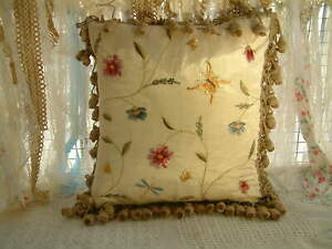 """16"""" Elegant Aubusson Design French Decorative Floral Embroidery Pillow Cushion"""