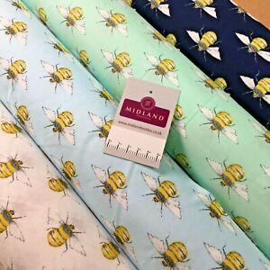 100% Cotton Poplin printed bees craft mask Fabric 110 cm MD1398 Mtex