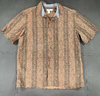 Territory Ahead Button Up Short Sleeve Shirt Men's Large Brown Striped Cotton