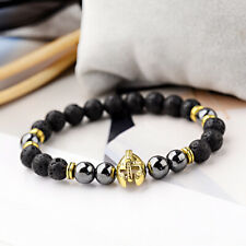 8MM Hematite Natural Lava Stone Bangle Gold Silver Helmet Men's Charm Bracelets