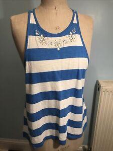 Hollister Blue White Stripe Racer Back Vest Top Size S Size 8-10
