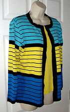 MISOOK PETITE STRIPED SWEATER TANK FITS S LONG SLEEVE CARDIGAN BLACK BLUE YELLOW