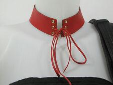 Collier Punk Gothique ras de cou choker femme cuir vrai rouge fait main design