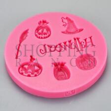 Spooky Halloween Pumpkin Witch Broom Hat Silicone Mould Cupcake Topper