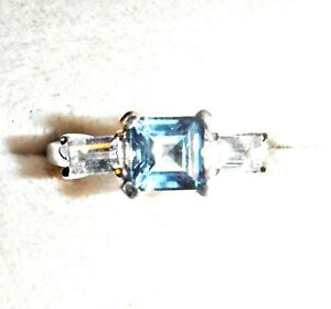 WOW EXQUISITE FACETED SQUARE BLUE TOPAZ CRYSTALS SILVER 925 RING BETWEEN N & O