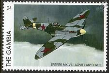 SPITFIRE Mk.VB Soviet Air Force (Russia) WWII Aircraft Stamp (1996 Gambia)