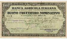 Italy 1930 BANCA AGRICOLA ITALIANA Sarno Buono Fruttifero 1000 Lire Bond Loan